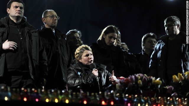 Former Prime Minister Yulia Tymoshenko speaks from Independence Square upon Saturday, February 22, hrs right after getting launched from prison.