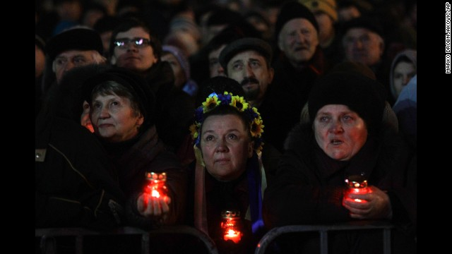 Protesters in support of the president's ouster rally throughout Kiev's Independence Square, which has been the middle of opposition, about Wednesday, February 26.